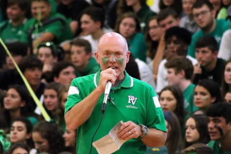 Engineering teacher Jim Kennedy leads the Valley Cup chant last Sept. Kennedy has been leading the chant since 2018.