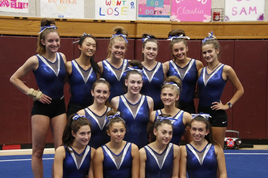 The+Pascack+Valley+Regional+Gymnastics+team+poses+for+a+photo+following+a+meet.+The+team+would+go+onto+win+its+second+straight+county+title.
