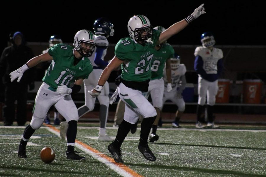 Jake+Ciocca+%2827%29+and+Sean+Cuffe+%2810%29+celebrate+an+interception.+Ciocca+picked+off+Demarest+quarterback+Andrew+Argenziano+twice+in+Valley%27s+41-0+victory.