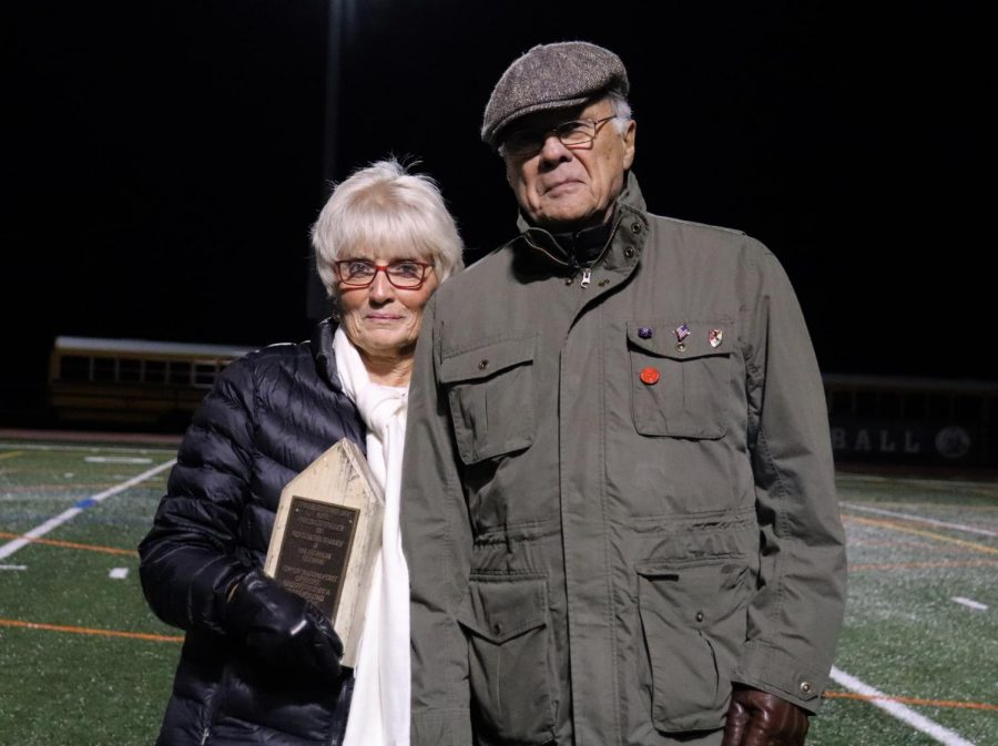 Pascack Valley football player and 1956 graduate Bob Venusti donated a wooden section of the torn down goal post from the 1955 Thanksgiving Day football game during the halftime of the North 1, Group 3 sectional quarterfinals on Nov. 8 this year. During the game, Venusti's sister and her husband presented the piece from Valley's first win in its inaugural season against Northern Valley to be displayed in PV's trophy case.