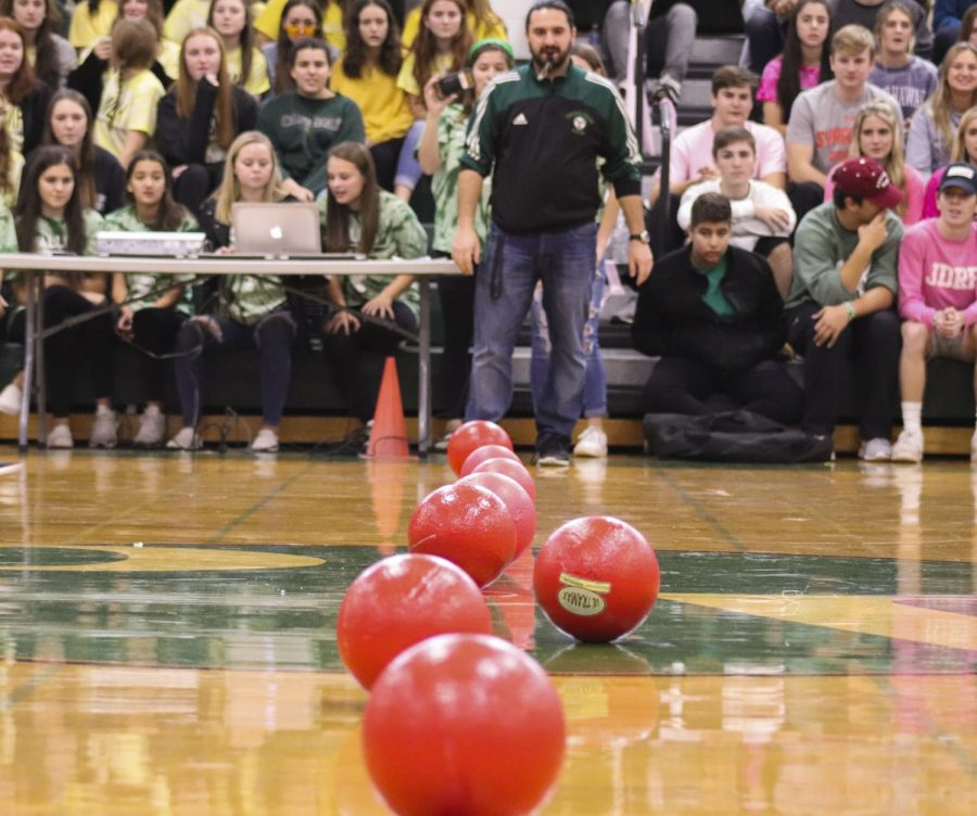 The dodgeballs lined up before a match.