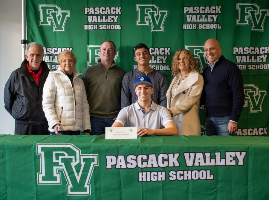 Craig+Sodano+and+his+family+at+Pascack+Valley%27s+winter+signing+day+ceremony.+Sodano+officially+committed+to+Marymount+University+to+play+Division+III+baseball.