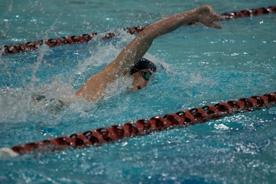 Tyler Marzano swims freestyle for the Pascack Regional Swim Team. Now a senior, Marzano is a captain for the team in 2021.