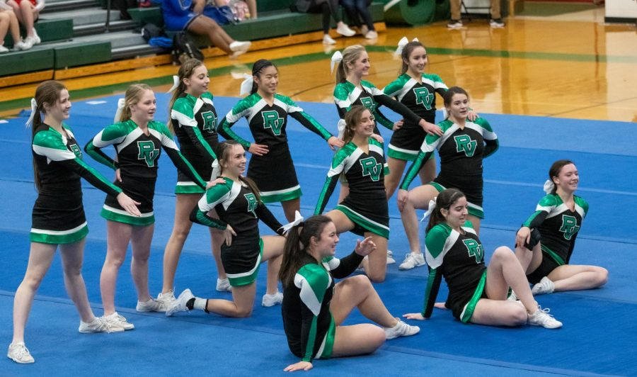 The cheer team poses during its routine. The team performed twice Tuesday night, first defeating Kennedy, and later on defeating Cliffside Park.