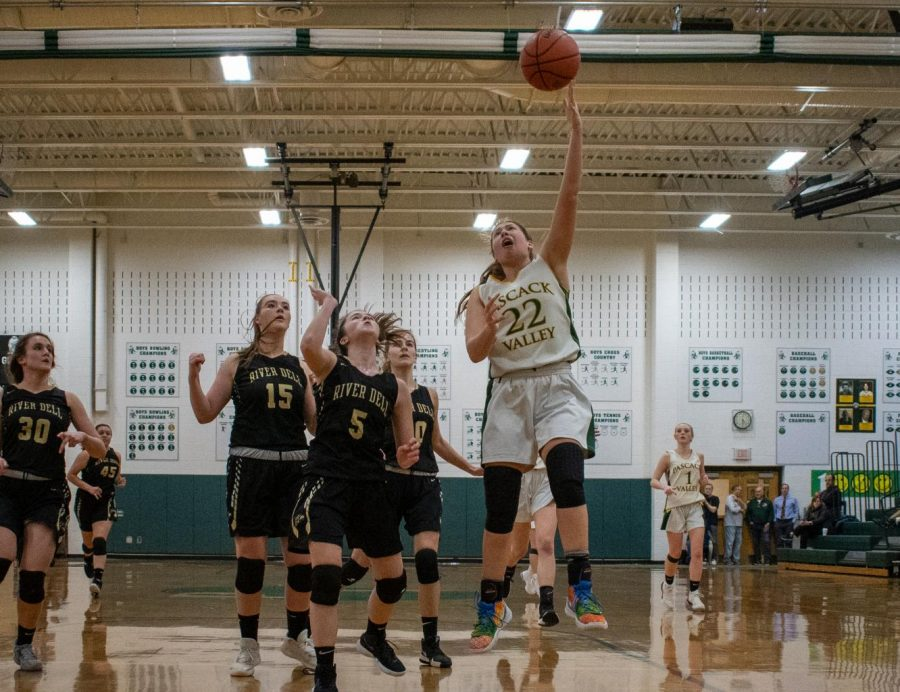 Sophomore Jules Vassallo goes up for a layup in Valley's 63-36 loss to River Dell.