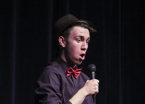 "Junior Jack Crown performing his ""Love and Hate"" stand-up comedy."