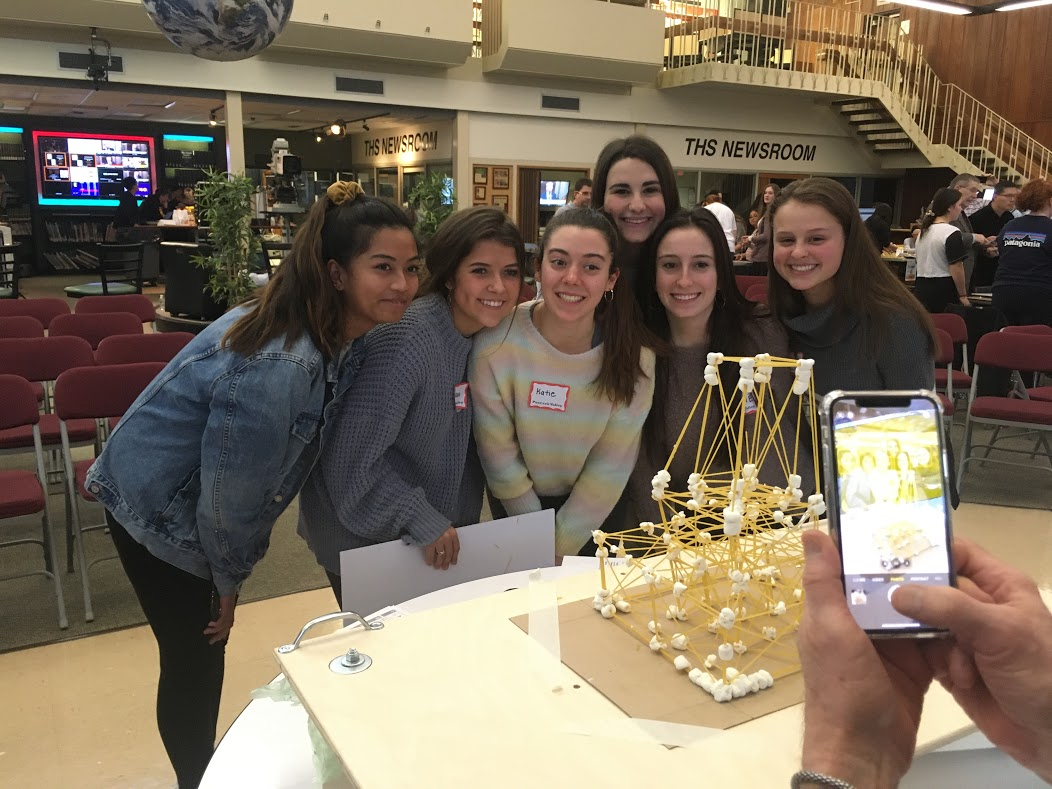 "The girls PV STEM League competed at the AIA NJ Architecture Tower Challenge and won ""Best Seismic Performance"" for their engineered spaghetti and marshmallow tower in a simulated earthquake."