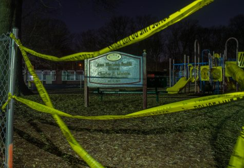 Caution tape surrounds the playground at Ann Blanche Smith School. All across New Jersey, parks and playgrounds are closed.
