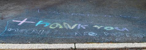 """Thank you healthcare heroes"" is written on the driveway of a house in River Vale. Hillsdale and River Vale residents have shown their support through chalk drawings and messages."