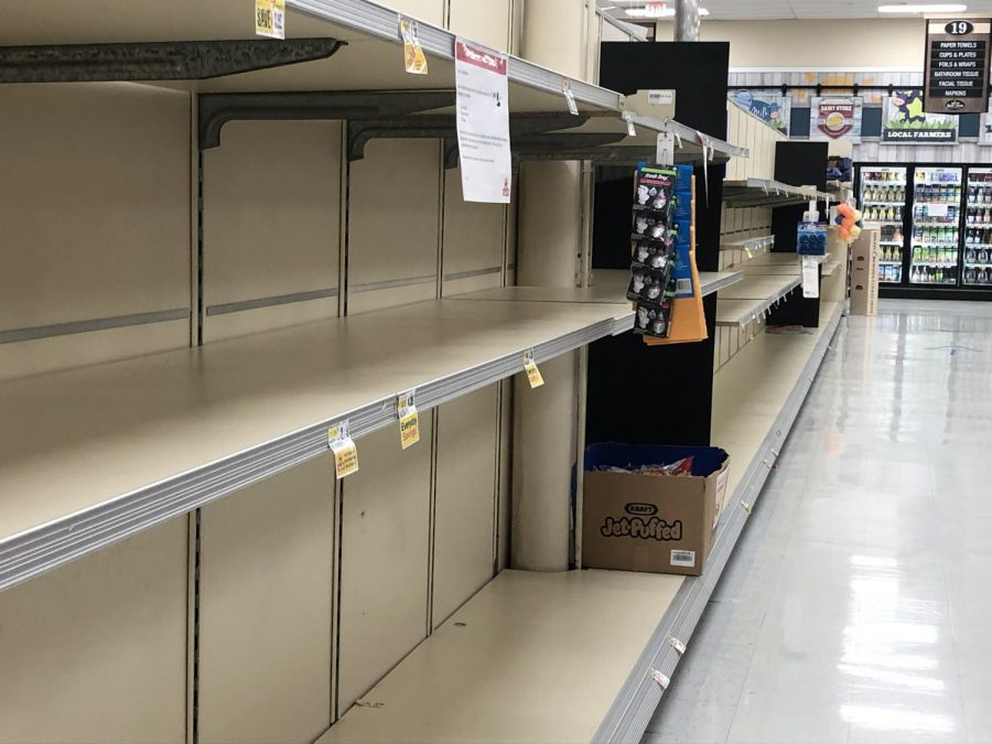 The ShopRite of Hillsdale is experiencing a shortage of paper products, including paper towels and toilet paper. Juniors Luke Palamidis and Brenna Tuffy continue to work at grocery stores amid the coronavirus pandemic.