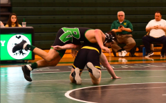 Senior AJ Menendez attempts to score on his opponent. Menendez along with eight other athletes participated in Pascack Valley's Spring Signing Ceremony on Wed. May 20.