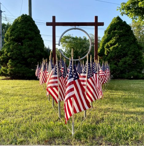 Flags are displayed at the River Vale Fire Department North Firehouse. Unlike past years, people had to celebrate Memorial Day by following social distancing rules.
