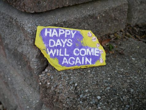 """Happy days will come again"" is written a rock. Due to the pandemic, Hillsdale and River Vale residents have left messages on rocks throughout the towns."