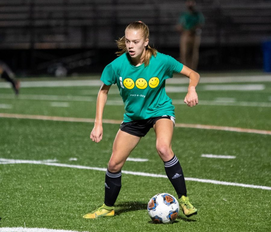Freshman Amanda Polyniak looks to get into the open field. Polyniak is our first Athlete of the Week.