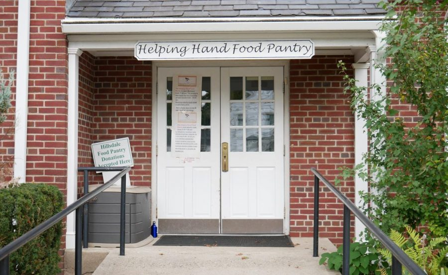 The front door of the Helping Hands Food Pantry. It is located in Hillsdale.