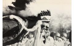 A PV student wears an Indian headdress during a football game in the 1963 yearbook. A group of staff writers created a package looking into the history behind PV's mascot and the use of Native American imagery.