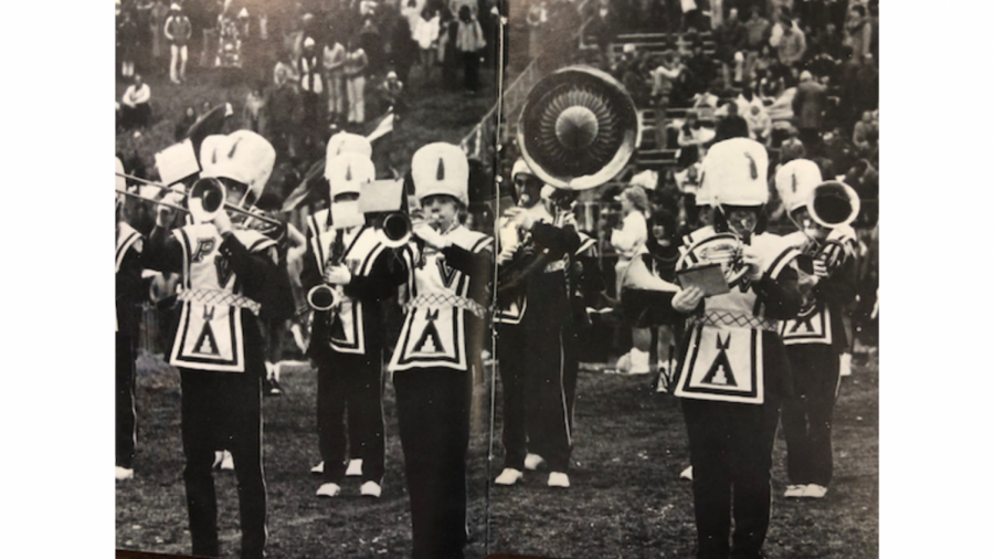 A picture of the Pascack Valley marching band in the 1966 edition of The Warrior. The uniforms featured images of Indian style teepees.