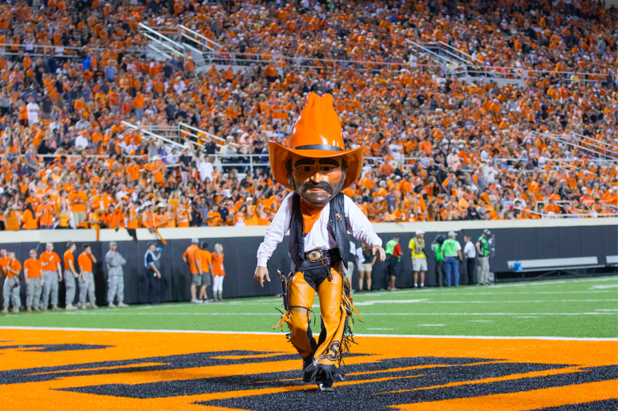 The Oklahoma State University Pistol Pete mascot at a football game. Pascack Hills used a version of Pistol Pete as their mascot until 2005.