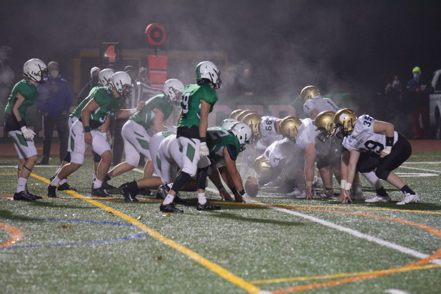 Pascack Valley and River Dell get set at the line of scrimmage. The Golden Hawks defeat PV 7-2 on Friday night.