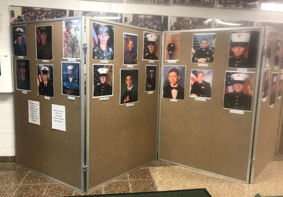 PV's History Club created a display located in the main lobby of Pascack Valley High School, showcasing veterans currently serving in the armed forces. While the display was only temporary, the club aims to be able to keep it up permanently.