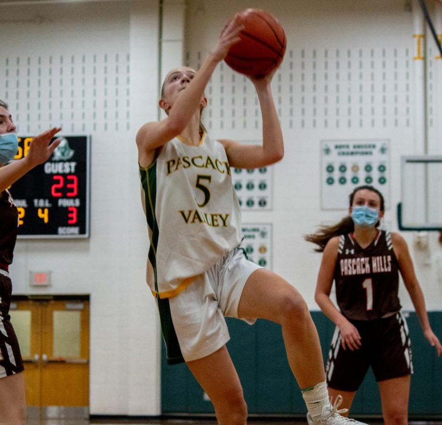 Kelly Andreasen goes for a layup against Pascack Hills. Andreasen is one of many seniors looking to lead Valley in 2021.