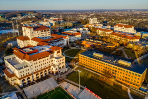 An aerial view of the Montclair State University campus. Montclair State University is one of many colleges to move away from using an Indian mascot.