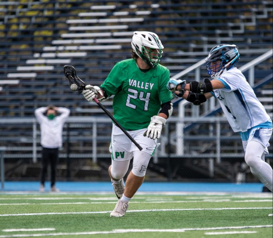 Daniel Haag looks to move the ball upfield. Haag committed to play Division III lacrosse at SUNY Cortland after he graduates from Pascack Valley in June.