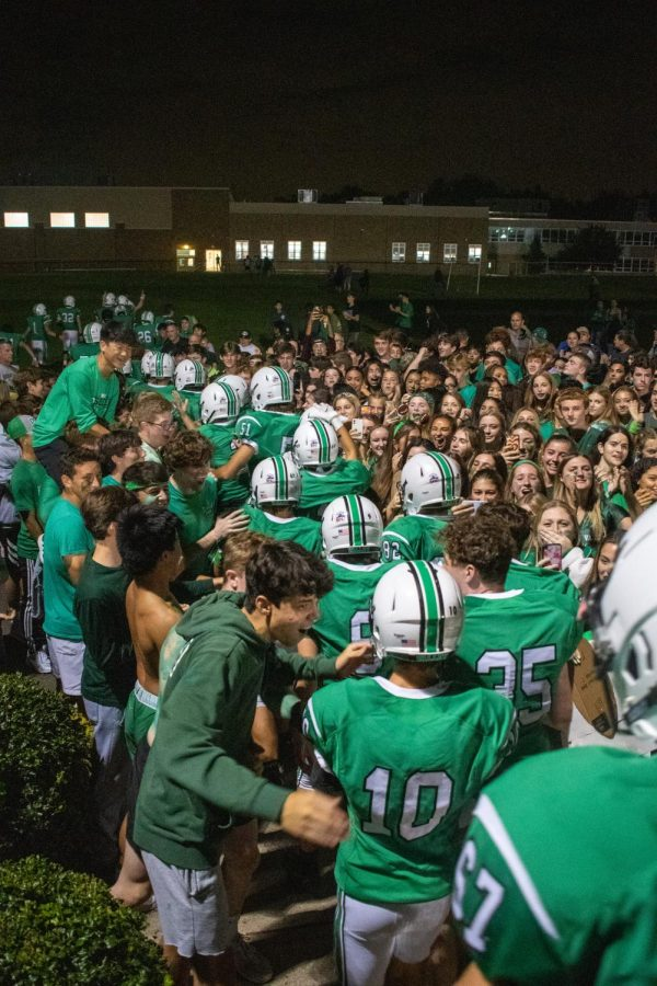 The Valley crowd cheers on the team as they walk back into the locker room after their 13-7 win over Wayne Hills.