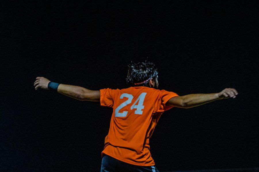Dylan Criscuolo raises his arms in excitement after a Valley goal.